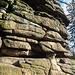 Kletterfels bei der Ruine Hirschstein, sehr sonnig und trocken, selbst im Januar