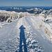 Schatten-Selbstportrait auf dem kurzen Gipfelgrat