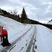 Denkbar knapper Schnee um die Skitour zu beginnen