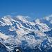 Fletschhorn, Laggingorn und Weissmies entwolken sich eher zaghaft