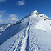 auf schmalem Grat geht's zum Gipfel