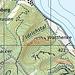 Der 6A-Sporn, westlich der Watthenke. Gestichelt ist der reine Grat markiert. Der untere (östliche) Zustieg ist auf dem vorhergehenden Bild ersichtlich (Karte: [https://map.geo.admin.ch/?zoom=7&lang=de&topic=ech&bgLayer=ch.swisstopo.pixelkarte-farbe&layers=ch.swisstopo.zeitreihen,ch.bafu.wrz-wildruhezonen_portal,ch.swisstopo.swisstlm3d-wanderwege&layers_visibility=false,false,true&layers_timestamp=19801231,,&layers_opacity=1,1,0.6&E=2720876.99&N=1293698.02 swisstopo])