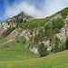 hier gehe ich weiter in Richtung Altenalp, der Weg geht rechts, Mitte Bild, den bewaldeten Felsen hinauf.