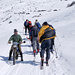 Bergsportler und Bergbauer