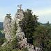 """Rückblick zur Abseilpiste - beim Baum auf dem Grat befinden sich weitere """"Abseiler"""", es ist ziemlich viel los heute :-)"""