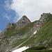 Schlussaufstieg auf dem Rotenchaste (T5+). Links im Bild die heikle Schlüsselstelle wenn man vom Schafberg über den Grat kommt.