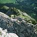 """Im Tiefblick vom Gipfel ist fast der gesamte südseitige Anstieg zu sehen. Rechter Bildrand Mitte: der Pfad vom lichten Wald in die Latschenzone; links oben: grüner Bergrücken (siehe 1.Foto);  beinahe Bildmitte Abzweig bei 2100m : hier beginnt der südostseitige Grat zum Gipfel, dessen gesamter Verlauf zu sehen ist.<br />Und warum heißt der Hundskopf """"Hundskopf""""? <br />Kleiner Hinweis: unser halbnackter Bergfreund balanciert gerade auf der Schnauze."""