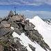 Tieralplistock Gipfelkreuz mit Diechterhorn im Hintergrund.