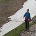 Schneefeldquerung im Abstieg bereits sulzig