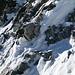 Der Fels der Matterhorn Nordwand. Entweder zu kleinbrüchig oder es sind wenig Risse vorhanden.