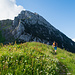 Die letzten Meter zur Bockmattlihütte. Im Hintergrund der Schiberg.