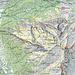 Fluebrig Übersichts Map  Gelb = T4 Blau = T5 Rot = T6 Die normalen Wanderwege sind meist T2 bis T3 Pinker Kreis klein = Wasserstellen Violetter Kreis gross = Outdoor Übernachtung Mehr unter: [http://www.scout-out.ch/pdf/fluebrig.pdf fluebrig.pdf]