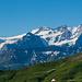 Rosenhorn, Mittelhorn, Wetterhorn mit der unschönen Starkstromleitung im Vordergrund