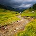 Blick auf die Zauneralm mit dem Pfad Richtung Boarnlacke. (Bild vom 3. 7., Aufstieg bei diesem Wetter nicht ratsam.)