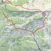 Quelle: Schweizmobile.ch / Blau: der weitere Verlauf der Mastenweg Grün: der Kessel mit den 5 metrigen Felswänden