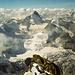 Gipfelpanorama nach SE über den oberen Schaligrat zu Dent Blanche und Grand Cornier