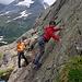 La veille, entrainement à la grimpe en grosses de l'autre coté de la vallée...pas si facile, hein Arnaud !