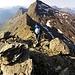 Passaggi di semplice arrampicata per Fredy, sullo sfondo la Cima di Cogn