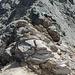 Ausgesetzte Kraxelei ca. 50 Höhenmeter unter dem Gipfel des Aroser Rothorns