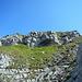Blick hoch zum Felsgürtel, der dem Gipfelglück noch im Weg steht.