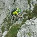 Kurze Kraxelstelle unterhalb der Lücke am Gipfelgrat