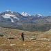 Abstieg mit Prachtpanorama, Piz Palü, Piz Bernina, Piz Morteratsch