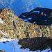 Aussicht von der Gugla (3377m) aufs Breithorn (3178m). Beim Schneefleck auf dem Grat hatten wir letzte Nacht biwakiert.