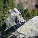 Passaggi d'equilibrio sui blocchi del secondo tiro.<br />Foto d'archivio. Luglio 2009