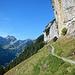 Beim Äscher beginnt nun ein erstklassiger Höhenweg hinüber zur Altenalp