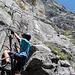 Im Einstieg des Klettersteiges.