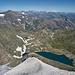 Tiefblick auf den Lago della Rossa und Weiblick bis zum Monte Rosa.