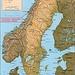 Karte von Schweden mit eingezeichneter Lage des Landeshöhepunktes. Der Kebnekaise / Giebmegáisi liegt zirka 150km nördlich des Polarkreises und ist 2096,8m hoch.