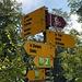 Bei diesem Wegweiser der in zwei Richtungen St. Ursanne anzeigt, links abbiegen, über die Brücke.