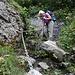 Mit neuen Ketten gesicherte Passage im Abstieg vom Bärentritt