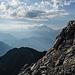 Blick zum Mt. Blanc, er ist bereits am Morgen in den Wolken