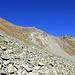 L'arrête E du Brunnethorn, ses gazons raides (heureusement secs) et son pierrier pierreux.