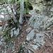 l'ostico passaggio. primo tratto<br />sono passato a monte della cordina sulla evidente cengetta rocciosa (I)