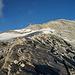 Nach dem Couloir: Den ehemalige Firngrat, der zum Gletscher führt. Achtung: Der Gipfel ist weit links (siehe Markierung)!!
