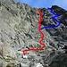 Roter Weg ist mein Aufstiegsweg mit Klettereinlage bis II. Grad<br />Blauer Weg im Abstieg, T3, kann problemlos auch im Aufstieg gemacht werden