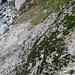 visto dall'alto, il punto in cui si abbandona il Ri d'Orsalietta e inizia la via d'alpe (con catena e staffe)