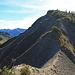 der Grat hinauf zum Alpkopf, wer schwindelfrei ist kommt mit der Schwierigkeit T3 ohne Probleme über diesen Grat hinweg, weiter oben sieht man bereits das Gipfelkreuz vom Alpkopf