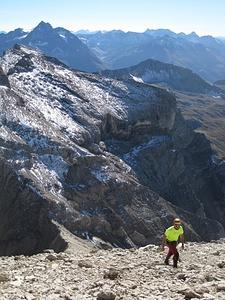 Blick auf Freispitzscharte (Abstieg) und Rote Platte