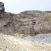 Arrivée à la zone d'ablation du Üsser Talgletscher, constituée par une barre rocheuse.