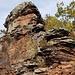 Mit ein bisschen Suchen gelangt man auf einen flachen Absatz am Dimbacher Felsen, der Blick nach oben lohnt den kleinen Abstecher (Der aber als T3 zu bewerten ist)