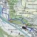 unsere Route in blau, einfacher und schneller der Töss entlang: Beim Industrieareal (grosses schwarzes Rechteck) sieht man in der nordöstlichen Ecke den Schornstein (Kreis mit Kreuz in der Mitte), wo man ein kurzes Stück weglos, aber ungefährlich in den Wald hineinbouldert.