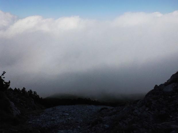 Ich bin bereits beim Abstieg nach Pfronten u. scheine dem Nebel entgegenzugehen.