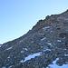 Les 100 mètres de pierrier pénible à traverser pour atteindre le col séparant le Mattwaldhorn du Simelihorn.