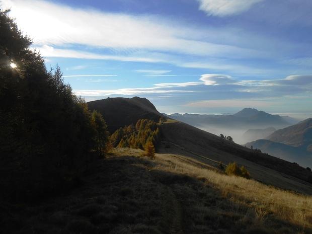 Al Pian del Lares Brusà verso la cima di Olino.