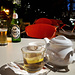 In Albania, its either Korca beer or chai malit (mountain tea)