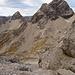 Der Schuttschinder von oben. Links die Ramstallspitze, rechts der Kleine und der Große Krottenkopf.